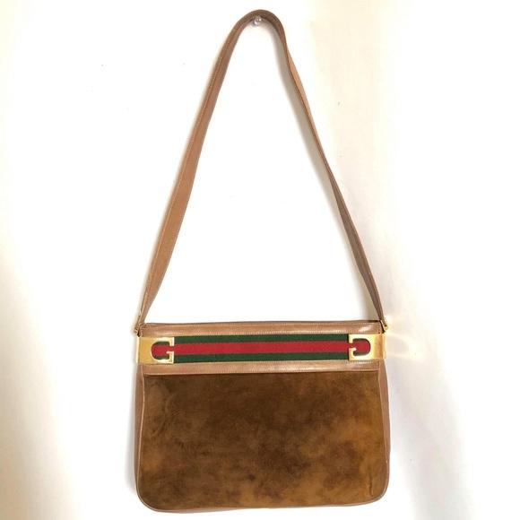 94c631f5c2 Gucci Handbags - GUCCI VINTAGE SUEDE SHOULDER BAG